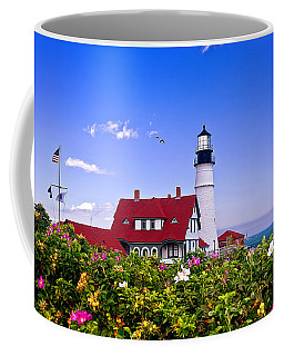 Portland Head Light And Roses Coffee Mug