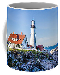 Coffee Mug featuring the photograph Portland Head Light House Cape Elizabeth Maine by Robert Bellomy