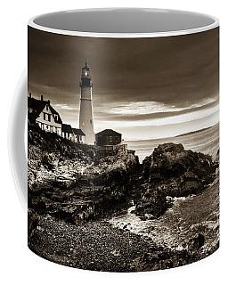 Coffee Mug featuring the photograph Portland Head Lighthouse Sunrise by Alana Ranney