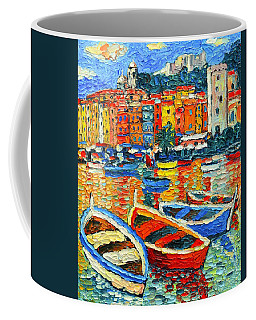 Portovenere Harbor - Italy - Ligurian Riviera - Colorful Boats And Reflections Coffee Mug