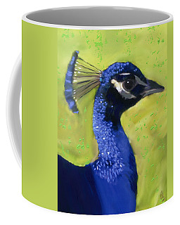 Coffee Mug featuring the painting Portrait Of A Peacock by Deborah Boyd