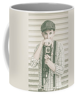 Portrait Of A Surprised Photographer Coffee Mug