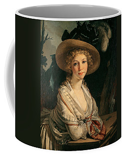 Portrait Of A Young Woman Oil On Canvas Coffee Mug