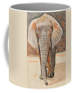 Coffee Mug featuring the painting Portrait Of An Elephant by Jeanne Fischer