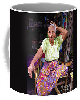 Coffee Mug featuring the photograph Portrait Of Elderly Burmese Lady Sitting In Front Of Home 33rd Street Chanayethazan Mandalay Burma by Ralph A  Ledergerber-Photography