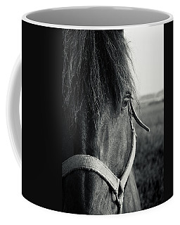 Portrait Of Horse In Black And White Coffee Mug by Peter v Quenter