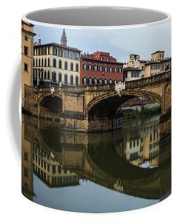 Postcard From Florence - Arno River And Ponte Santa Trinita  Coffee Mug