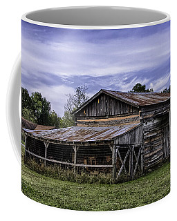 Coffee Mug featuring the photograph Pottsville Arkansas Historic Log Barn by Betty Denise