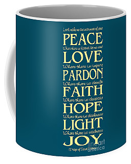 Prayer Of St Francis - Subway Style - Teal And Yellow Coffee Mug