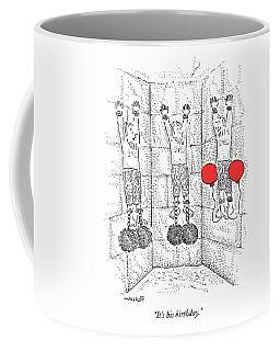 Prisoner In Dungeon Has Orange Balloons Attached Coffee Mug