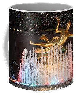 Prometheus Greek Statue In Rockefeller Ice Rink Coffee Mug by John Telfer