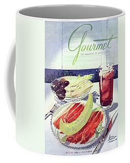 Prosciutto, Melon, Olives, Celery And A Glass Coffee Mug