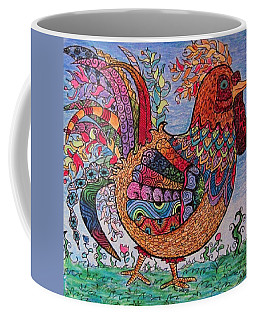 Psychedelic Rooster Coffee Mug by Megan Walsh