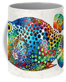 Puffer Fish Art - Puff Love - By Sharon Cummings Coffee Mug