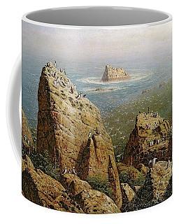 Puffins On Lundy Island Oil On Canvas Coffee Mug