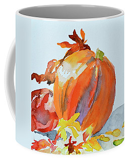 Coffee Mug featuring the painting Pumpkin And Pomegranate by Beverley Harper Tinsley