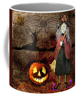 Pumpkinella The Magical Good Witch And Her Magical Cat Coffee Mug by Colleen Taylor