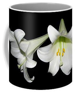 Coffee Mug featuring the photograph Pure White Easter Lilies by Rose Santuci-Sofranko