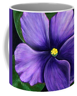Coffee Mug featuring the painting Purple African Violet by Barbara Griffin