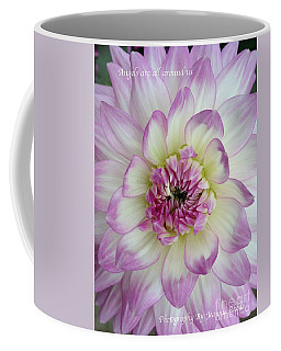 Coffee Mug featuring the photograph Purple And Cream Dahlia by Jeannie Rhode