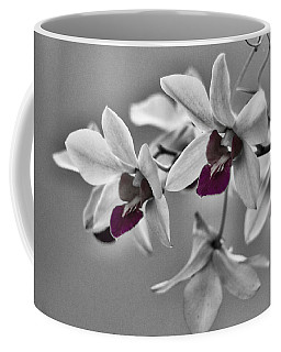 Purple And Pale Green Orchids - Black And White Coffee Mug