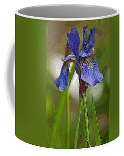 Purple Bearded Iris Watercolor With Pen Coffee Mug