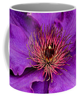 Coffee Mug featuring the photograph Purple Clematis by Suzanne Stout