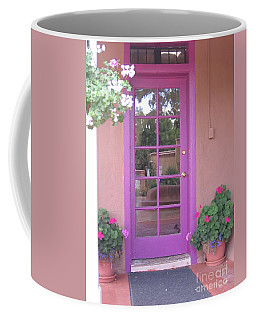 Coffee Mug featuring the photograph Purple Door by Dora Sofia Caputo Photographic Art and Design