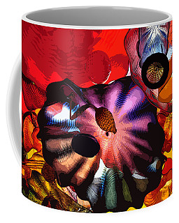 Coffee Mug featuring the digital art Purple Glass In Sea Of Red by Kirt Tisdale