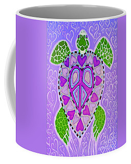 Purple Heart Turtle Coffee Mug by Nick Gustafson