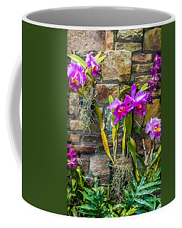 Purple Orchids With Cultured Stone Background Coffee Mug