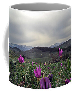Coffee Mug featuring the digital art Purple Spring In The Big Horns by Cathy Anderson