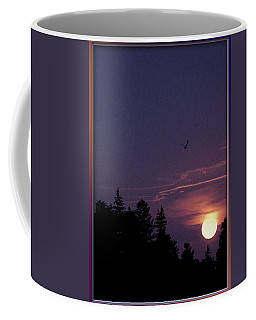 Coffee Mug featuring the photograph Purple Sunset With Sea Gull by Peter v Quenter