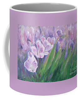 Coffee Mug featuring the painting Purple Tulips  by Jane  See
