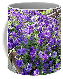 Purple Wave Petunias In Rusty Horse Drawn Spreader Coffee Mug