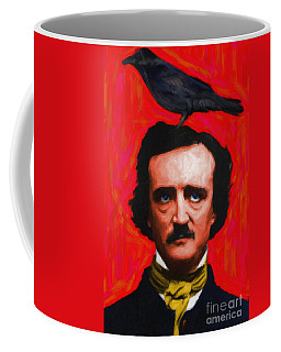 Quoth The Raven Nevermore - Edgar Allan Poe - Painterly - Red - Standard Size Coffee Mug