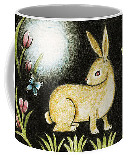 Coffee Mug featuring the mixed media Rabbit And The Butterfly . . . From The Tapestry Series by Terry Webb Harshman