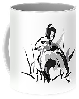 Coffee Mug featuring the painting Rabbit Bunny Black White Grey by Go Van Kampen