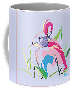Coffee Mug featuring the painting Rabbit - Bunny In Color by Go Van Kampen