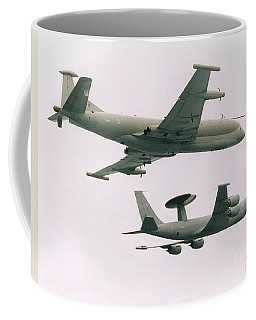 Coffee Mug featuring the photograph Raf Nimrod And Awac Aircraft by Paul Fearn