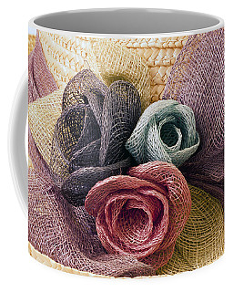 Coffee Mug featuring the photograph Raffia Roses Macro by Sandra Foster