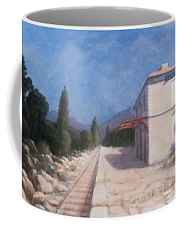 Rail Station, Châteauneuf, 2012 Acrylic On Canvas Coffee Mug
