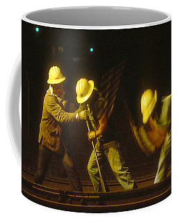 Coffee Mug featuring the photograph Railroad Workers by Mark Greenberg