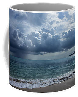 Coffee Mug featuring the photograph Rain Clouds At Waimanalo by Leigh Anne Meeks