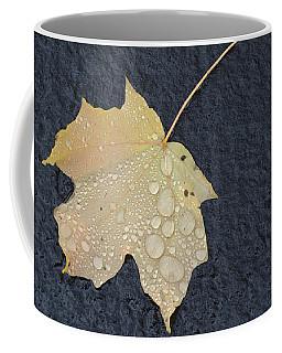 Rain Drops On A Yellow Maple Leaf Coffee Mug