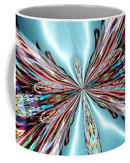 Rainbow Glass Butterfly On Blue Satin Coffee Mug