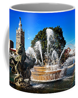 Rainbow In The Jc Nichols Memorial Fountain Coffee Mug