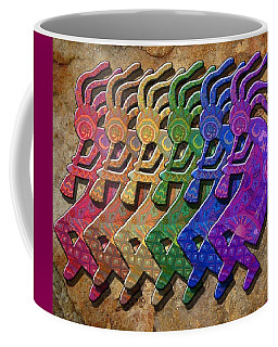 Rainbow Kokopellis Coffee Mug by Megan Walsh