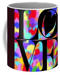 Rainbow Love In Black Coffee Mug by Kasia Bitner
