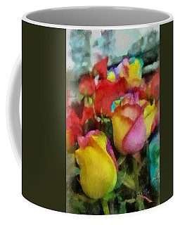 Rainbow Roses Watercolor Digital Painting Coffee Mug by Eti Reid